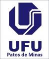 Logomarca, na cor azul escuro, da universidade federal de uberlândia, campus patos de minas.
